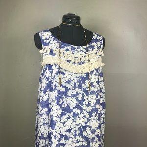 Kensie Hawaiian Floral Tassel Boho Shift Dress